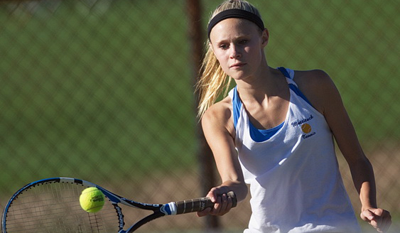 Emily Mowdy contributed to Mattituck's singles sweep against Bishop McGann-Mercy. (Credit: Garret Meade)