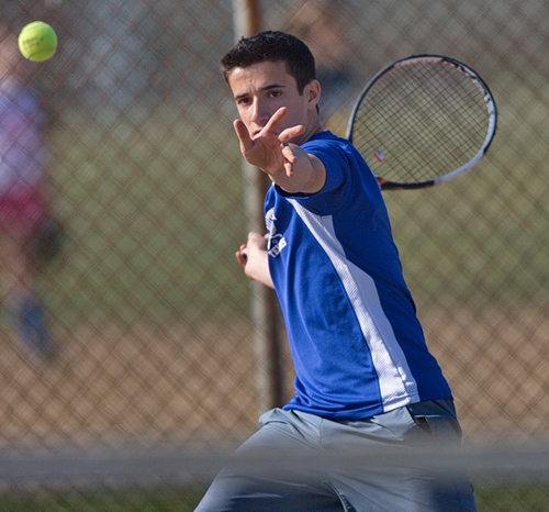 GARRET MEADE PHOTO | Mattituck's first singles player, Garrett Malave, ran his record to 4-0 on Monday.