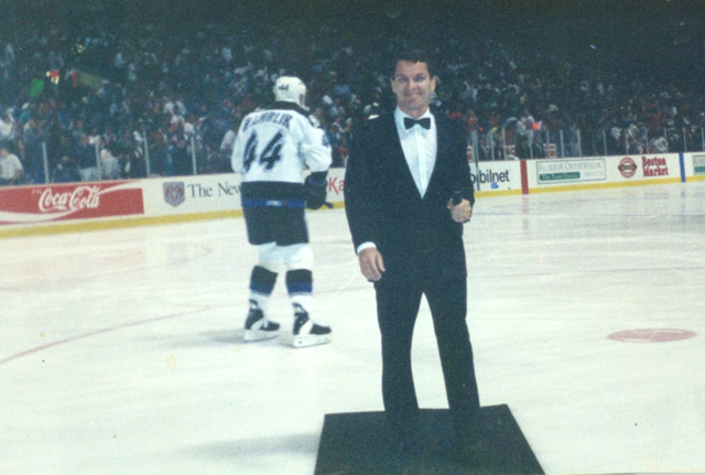 Robert Mince sings the National Anthem at an NHL game featuring the Tampa Bay Lightning. (Credit: courtesy)