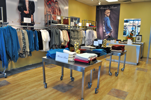 Minnie Rose, a high-end women's cashmere line, opened its first brick-and-mortar store at Tanger Outlets in Riverhead last week. (Rachel Young photo)