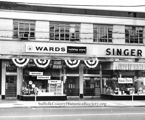 A 1964 photo depicting the grand opening of the former Montgomery Ward Catalog Store in downtown Riverhead. (Credit: Suffolk County Historical Society)