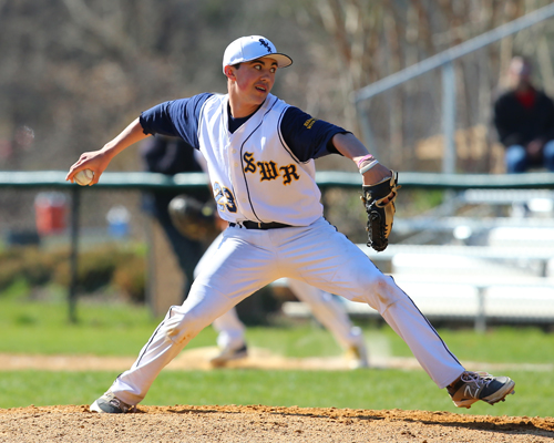 Shoreham-Wading River freshman Brian Morrell pitches against Westhampton. (Credit: Daniel De Mato)