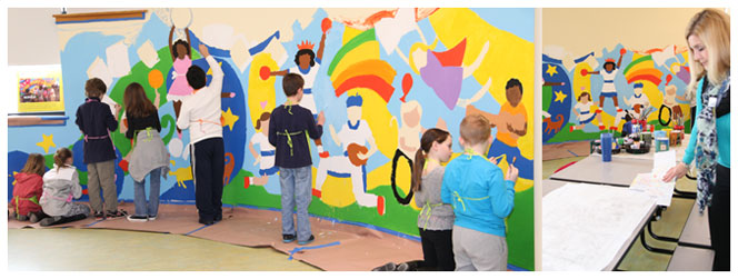 Third graders from teacher Beth Menis' class help paint the mural in the Riley Avenue cafeteria. (Credit: Riverhead School District)