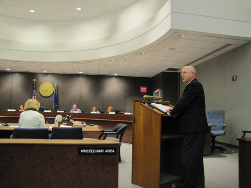 Riverhead Planning administrator Jeff Murphree address the Suffolk County Planning Commission Wednesday in Hauppauge.