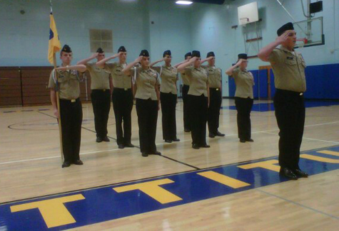 The Riverhead NJROTC drill team in 2012. (Credit:  Courtesy, file)