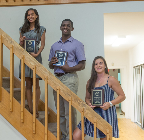 Three of the Riverhead News-Review athletes of the year honored were (from left) Katherine Lee of Shoreham-Wading River, Reggie Archer of McGann-Mercy and Danni Napoli of Riverhead. (Credit: Robert O'Rourk)