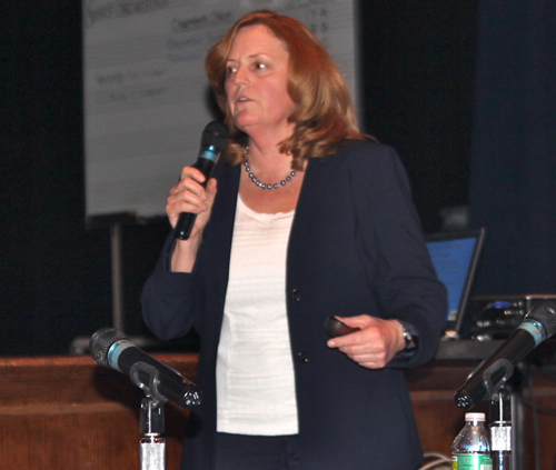 JENNIFER GUSTAVSON FILE PHOTO | Riverhead superintendent Nancy Carney speaks at a school board meeting.