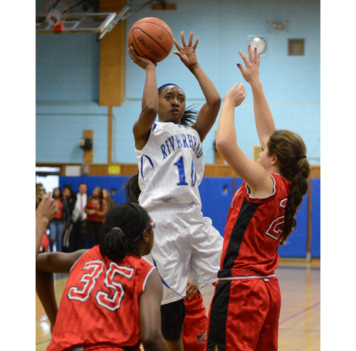 ROBERT O'ROURK PHOTO  |  Riverhead senior Naysha Trent scored 20 points against Half Hollow Hills East Thursday in the Class AA playoff opener.