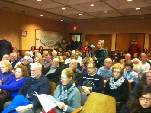 The Riverhead Town Board held a hearing Wednesday to discuss a Northville gas terminal proposal. (Credit: Tim Gannon)