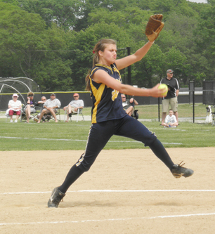JOE WERKMEISTER PHOTO | Shoreham-Wading River sophomore Chelsea Hawks took the loss as the Wildcats fell 4-1 Saturday at Sayville.