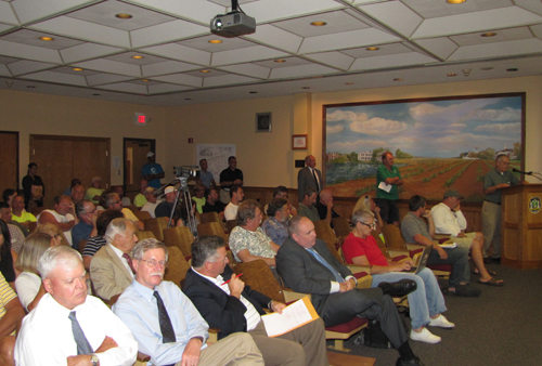 Members of the public at Thursday night's planning board hearing on a 50-lot subdivision at Enterprise Park at Calverton. (Credit: Tim Gannon)