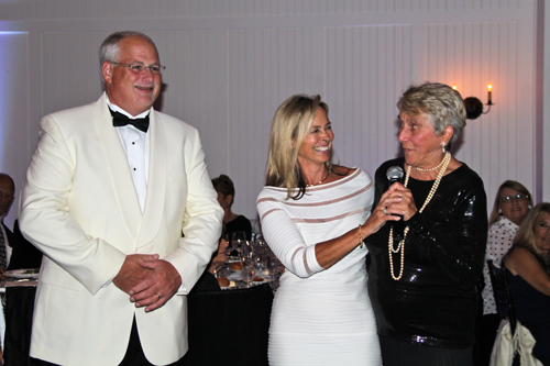 PBMC Health CEO Andrew Mitchell, board of directors president Sherry Patterson, and foundation member Marguerite Strauss speaking at the benefit.
