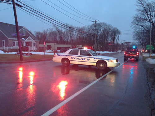 PAUL SQUIRE PHOTO | Cops shut a section of Route 25 Tuesday evening.
