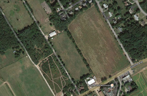 The land on the west side of Park Road will likely be preserved as farmland by Suffolk County. (Credit: Google Maps)