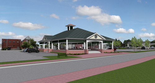 A 2008 rendering of the proposed skating rink and pavillion planned for downtown Riverhead, from architect Martin Sendlewski
