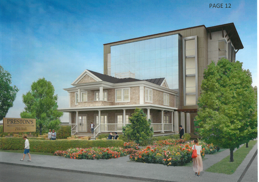 Rendering of Preston House rehab and five-story hotel proposed by Joe Petrocelli