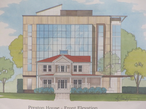 Rendering of the Preston House with five story hotel, front view.