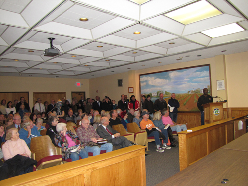 Town Hall was packed during a nearly four hour hearing on plowing private roads Tuesday