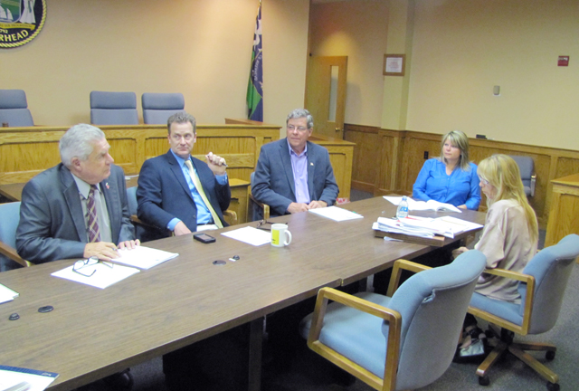 Town Board members discuss marketing EPCAL with deputy town attorney Anne Marie Prudenti, right, at Thursday's work session. (Credit: Tim Gannon)