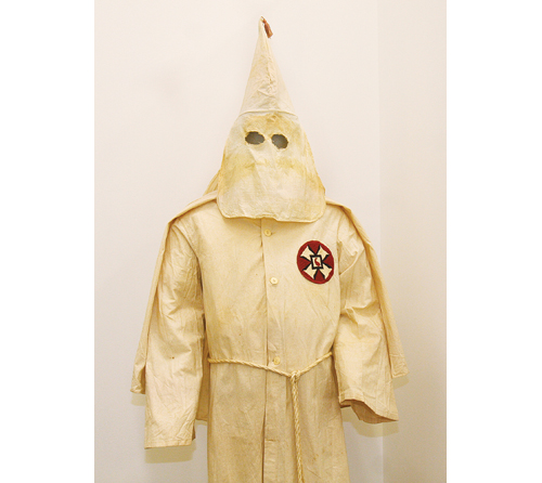 BARBARAELLEN KOCH PHOTO | A KKK garment given to the Suffolk County Historical Society by an anonymous donor. The robes are from Long Island.