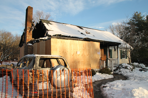 The remains of the Dalecki family home in Wading River in the days following a February 2014 fire. (Credit: Paul Squire, file)
