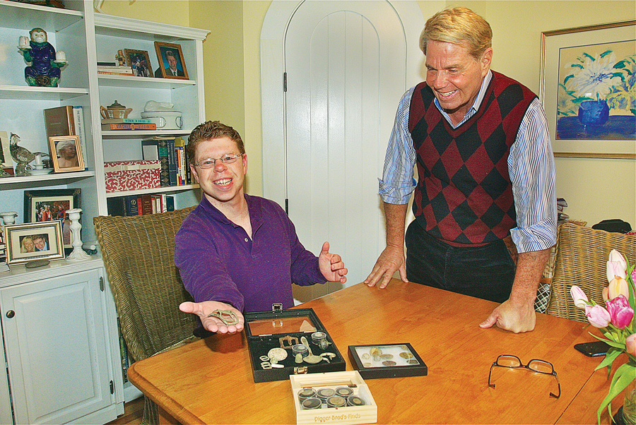 Brad Bocksel and his father, Robert, preparing artifacts for accession to Fraunces Tavern Museum. (Credit: Barbaraellen Koch)