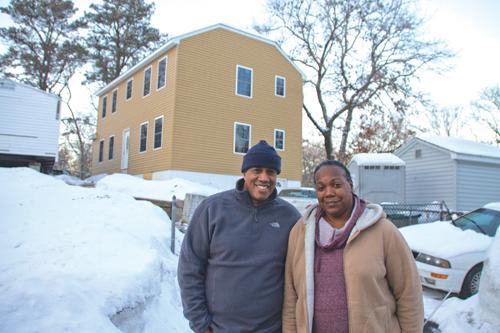 From left, Tracey Foutaine and TK. Mr. Fountaine credits his faith, extended family, friends and even the help of strangers for helping his family get back on its feet. (Credit: Paul Squire)