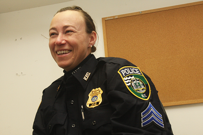 Sgt. Jill Kubetz was promoted last week to be the department's first female sergeant. (Credit: Barbaraellen Koch)