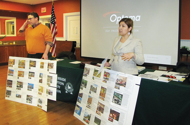 Sean McLean and Siris Barrios of Renaissance Downtowns discuss plans for revitalizing Riverside at Monday's Flanders, Riverside and Northampton Community Association meeting. (Credit: Tim Gannon)
