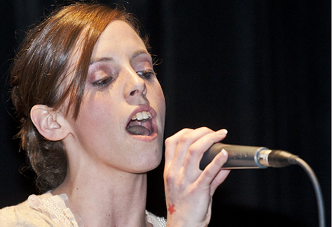 "Riverhead's Kristen Boden singing ""I Will Always Love You"" at the 2011 Sing East End event. (Credit: John Neely, file)"