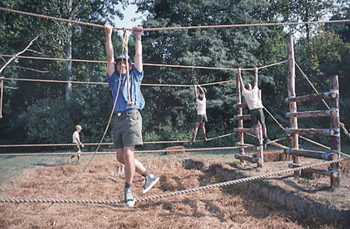 BOY SCOUTS OF AMERICA COURTESY PHOTO | Scouts on a rope obstacle course.