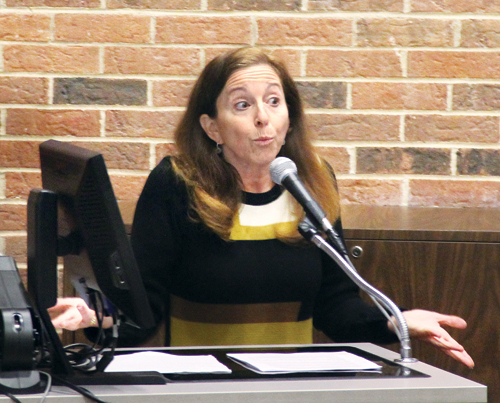 Adrienne Esposito, executive director of Citizens Campaign for the Environment, calling for the banning of certain pesticides at the DEC's Draft Long Island Pesticide Pollution Prevention Strategy hearing at Suffolk County Community College in Northampton last year. (Credit: Carrie Miller, file)