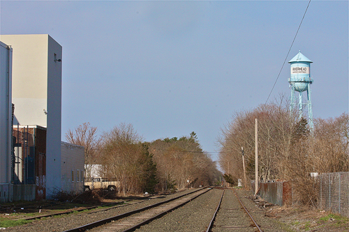 Riverhead police say a homeless man was beaten and robbed by the railroad tracks in Polish Town Sunday. (Credit: Barbaraellen Koch)