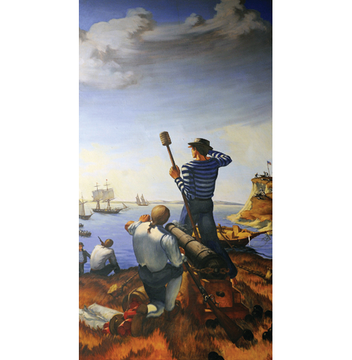 This mural at the U.S. Coast Guard Academy is an artist's interpretation of the October 1814 engagement. It was painted in 1933 by Aldis B. Browne II. (Credit: U.S. Coast Guard Collection)