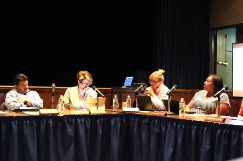 School board members (L-R) Tom Carson, Amelia Lantz, Sue Koukounas, and Kim Ligon. (Credit: Jennifer Gustavson)