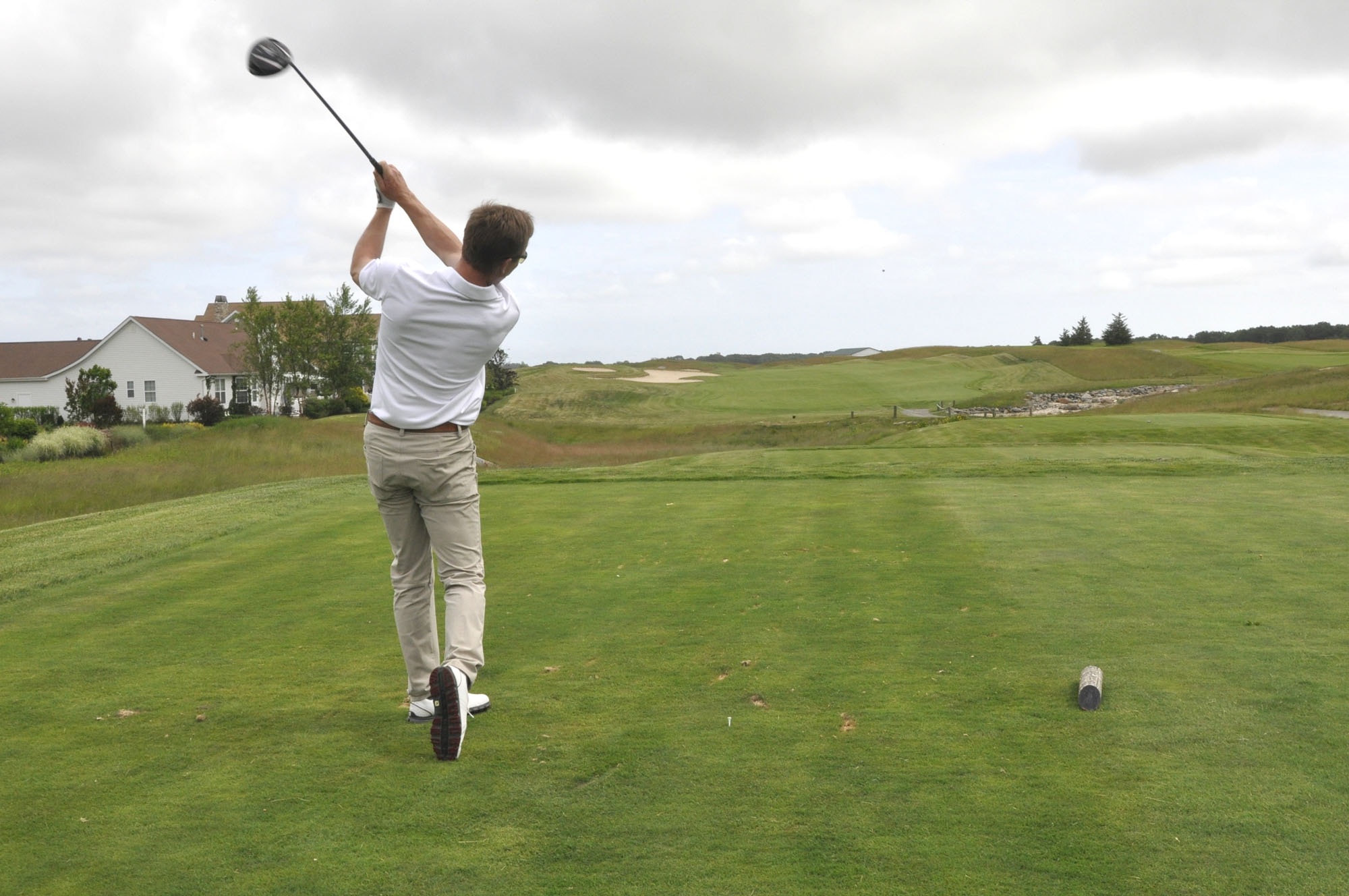 The Vineyards Golf Club head pro Louis de Kerillis teeing off last year. (Credit: The Vineyards, courtesy photo)