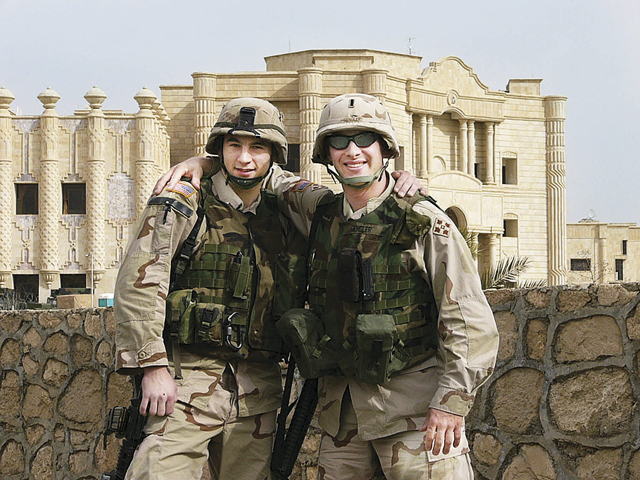 Army Sgt. Anthony Venetz (left) and 1st Lt. Gabriel 'Buddy' Gengler, who went to school together at Shoreham-Wading River High School, during a chance meeting in Baghdad. (Credit: Courtesy)