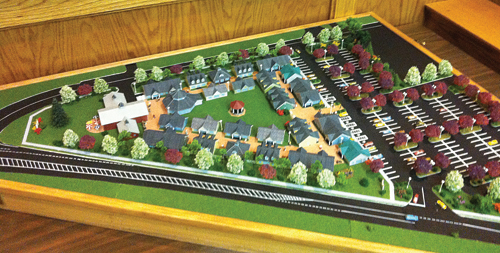 TIM GANNON FILE PHOTO  |  A model, presented in 2011, of the Knightland development planned for Wading River.