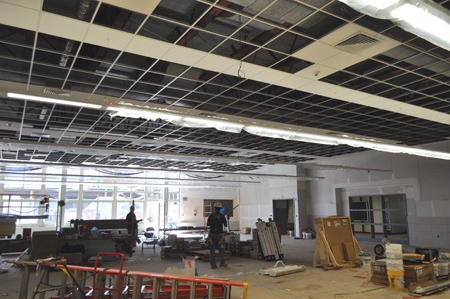 Starting this school year, the cafeteria at the Riverhead High School will have enclosed interior doors as opposed to dividers, as well as a new exterior wall, both currently in the works. (Credit: Joseph Pinciaro)