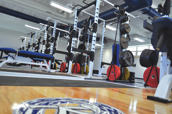 A new weight room was constructed this summer at the high school, part of a $78 million construction project taking place districtwide. (Credit: Joseph Pinciaro)