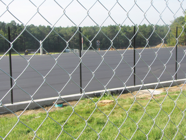 The new courts at Shoreham-Wading River High School are expected to be completed in about a month. (Credit: Nicole Smith)