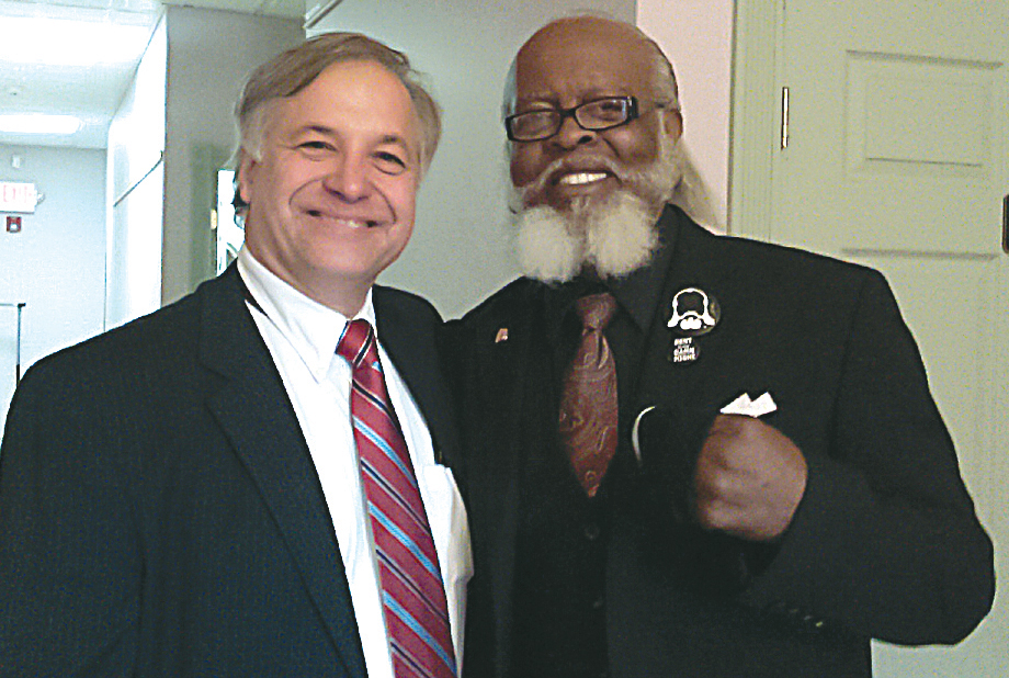 Greg Fischer (left) once worked on a campaign with Rent is Too Damn High party candidate Jimmy McMillon. The two, seen here in an undated photo, now share the same party line as Mr. Fischer runs for state comptroller. (Courtesy photo)