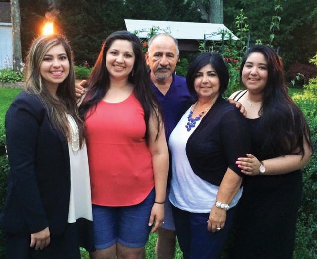 Mr. Aceituno pictured with his three daughters (from left) Jasmin, Jennifer and Genesis and his wife Gladys. (Credit: courtesy photo)