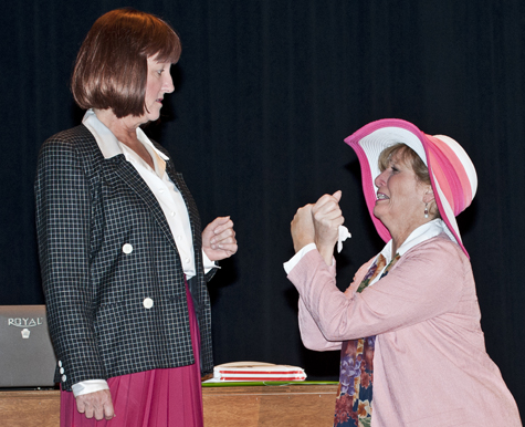 Jan McKenna (left) as Violet Newstead and Jayne Freeman as Judy Bernly.