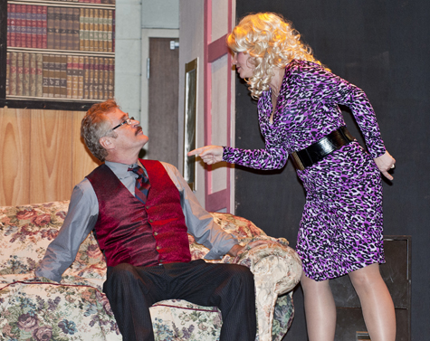 Doralee Rhodes, played by Kimet Speed, confronts her boss, Mr. Hart, played by James Zay).