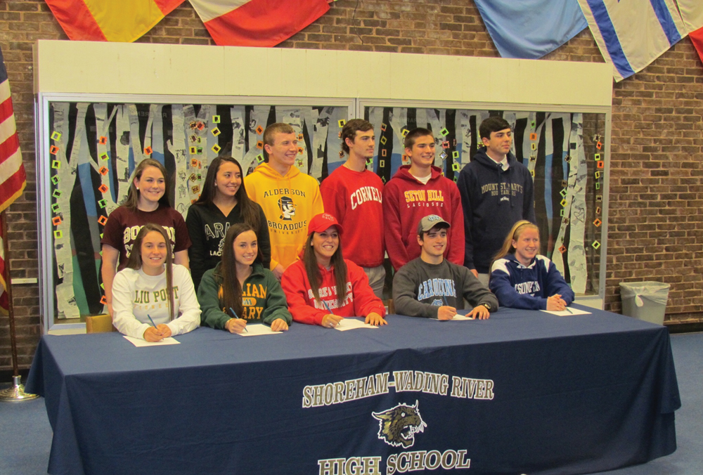 Eleven Shoreham-Wading River student-athletes signed to continue playing their sports in college next year. (Credit: SWR schools)