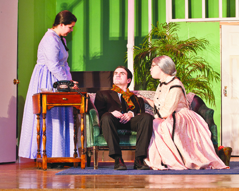 "Elizabeth Field (from left) as Aunt Abby, Nick Motlenski as Mortimer Brewster and Nicole Chiuchiolo and Aunt Martha in McGann-Mercy High School's production of ""Arsenic and Old Lace."" Performances are Thursday through Sunday, Dec. 1-4."