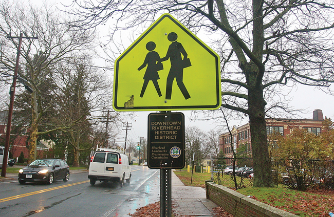 A school crossing sign near Roanoke Avenue Elementary School. (Credit: Barbaraellen Koch)