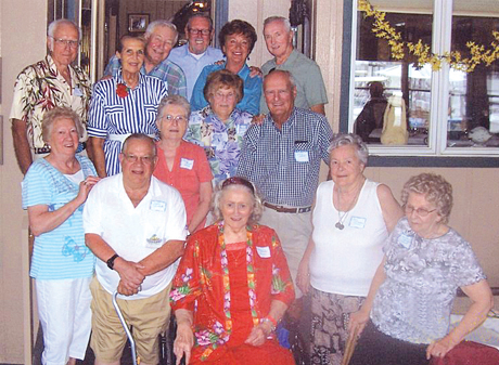 Members of Riverhead High School's Class of 1951 celebrated their 60-year reunion earlier this month at Meeting House Creek Inn in Aquebogue. Back row, from left: Lloyd Corwin, Genie Victoria Myers, Bill Wegener, Jeb LaDouceur, Nancy Nienstedt Cooley, Donald Robinson. Middle row: Shirley Sanford Braun, Joel Frank, Polly Brooks Stark, Marcy Ausenbach Edwards, Douglas Smith. Front row: Amelia Blasko Bauer, Joan Cleveland Poucel, Marie Pflieger Smith. Not pictured: Pat Collins Coleman.