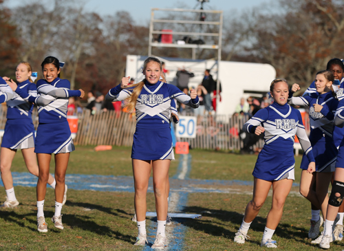 Riverhead cheerleaders perform during halftime of a football game Nov. 16. (Credit: Daniel De Mato)